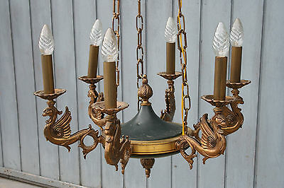 French Antique empire Dragon gothic green tole bronze chandelier 6 arms 1935 NO1