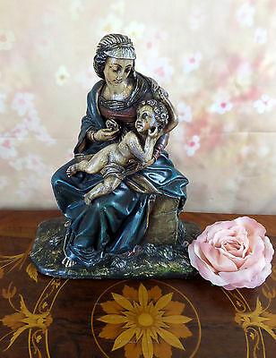 Large polychrome antique FRENCH Chalkware Madonna with child christianity christ