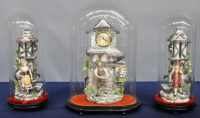French Vintage  Mantel set Faience group horses farming clock under glass dome