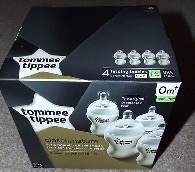 NEW TOMMEE TIPPEE CLOSER TO NATURE 4 CLEAR FEEDING BOTTLES BIRTH 0+ 260ml 9oz