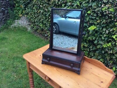 Deep Solid  Mahogany Georgian Dressing Table Mirror with single concaved drawer