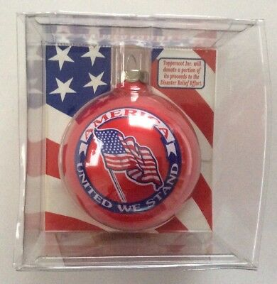 """Patriotic Christmas Glass Ornament New Red 3"""" Unique United We Stand Holiday"""