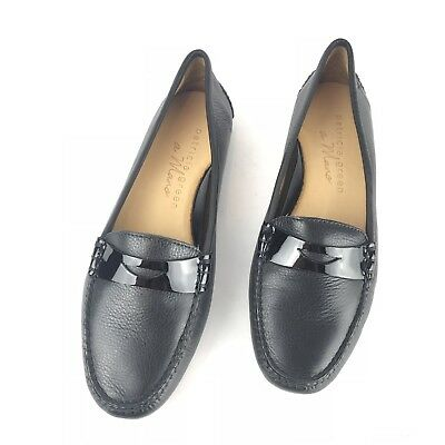 New Patricia Green Bristol Black Leather Penny Loafer Flats Womens