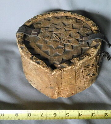 Rare sailor made primitive canteen cork leather 19th century carved decorated