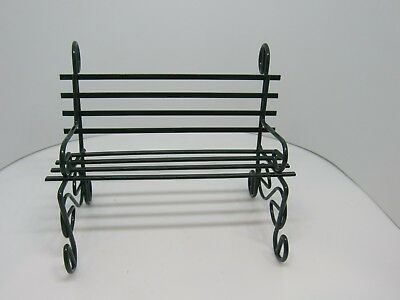Dollhouse Miniatures, Green Metal Park or Porch Bench, 1/12 Scale