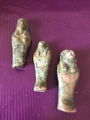 Rare-Ancient-Authentic-Egyptian 3 Faeince-Ushabti-Shabti-600BC