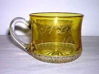 "Souvenir Yellow Flashed  Cup ""st Louis 1896 /cane"" Scarce Souvenir Color Mint"