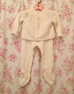 Vintage baby sweater suit 2 piece, unisex, Harrods , white, winter, Christmas
