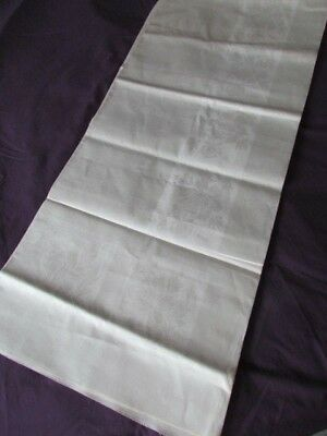 "178""x 64"" Fabric Vintage Irish Linen Damask Roses off White Tablecloth Craft New"