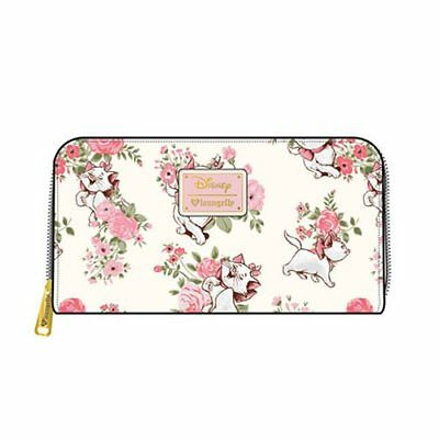 LOUNGEFLY DISNEY NEW The Aristocats Marie Floral Print Zip-Around Wallet