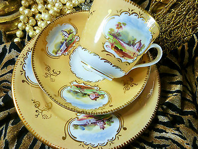ANTIQUE TEA CUP AND SAUCER TRIO ENGLISH HAND PAINTED SCENIC CARTOUCHE c1815 BUTE