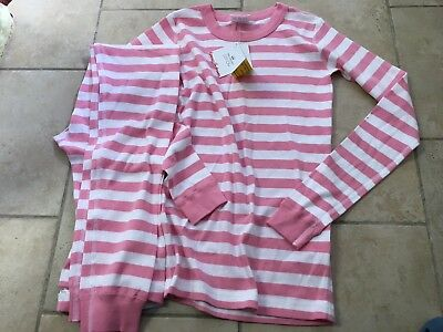 NWT HANNA ANDERSSON  Pink Striped Organic Long pajamas, Girls Size 150 (12)