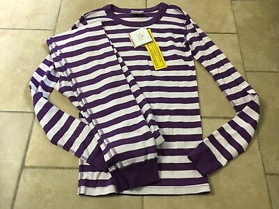 NWT HANNA ANDERSSON  Purple Striped Organic Long pajamas, Girls Size 160 (14)