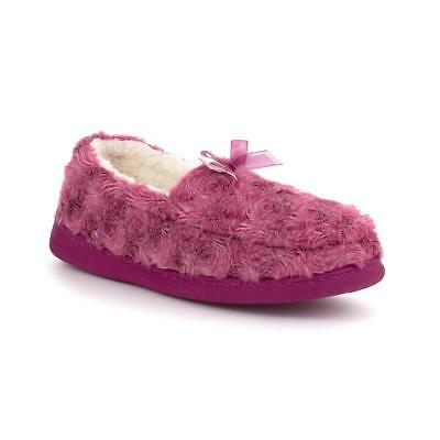 Zone - Womens Pink Moccasin Slipper with Bow - Sizes 3,4,5,6,7,8,9