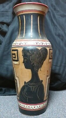 "Rare Greek Roman Ceramic Vase Hand Painted 12"" Tall Excellent Condition"