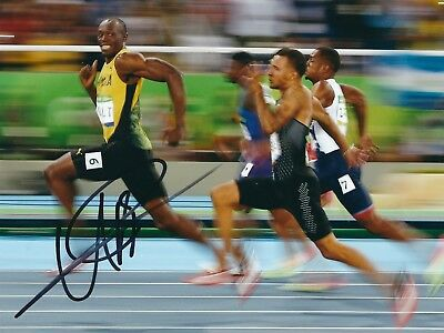 USAIN BOLT SIGNED 8x10 PHOTO 1 - UACC & AFTAL RD AUTOGRAPH - 100M OLYMPIC GOLD