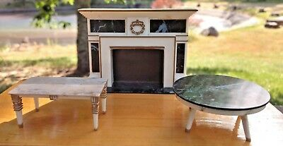 Miniature / Doll House Ideal Fireplace w Mantle + Tables Marble (3) Pcs Vintage