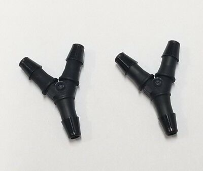 "(2) Two 3/32"" Nylon Wye Y 3-Way Barb Black Tube Connector Fittings"