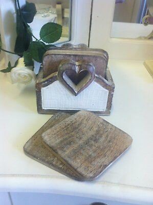 Wooden Heart 6 Coasters and box Shabby Gift Chic Present Home Accessory (k6k)