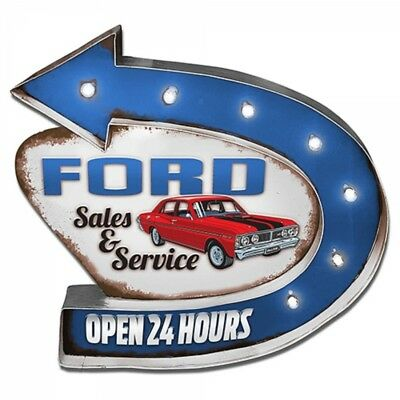 """Official Ford Motor Company """"Ford Service"""" Light Up Tin Sign Fathers Day"""