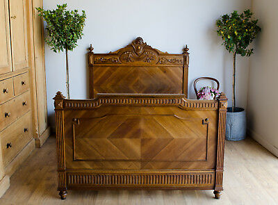 Antique French 19th Century Walnut Double Bed with New Slats