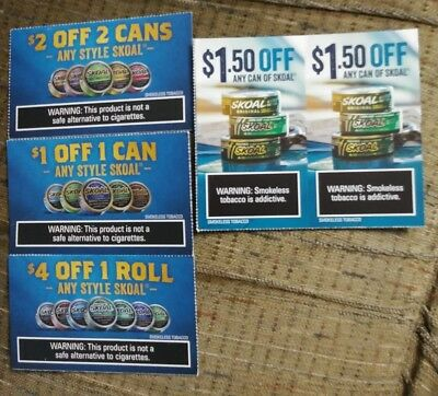 SKOAL SMOKELESS TOBACCO Coupons *******huge $Aving$******* - $3 00
