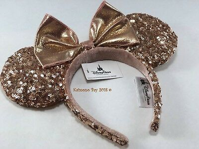 Disney Parks Authentic Minnie Mouse Rose Gold Sequin Ear Headband NWT