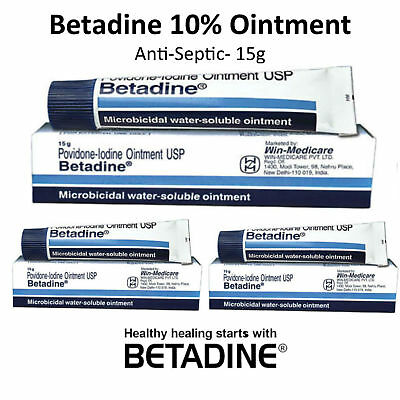 3 x Betadine Povidone-Iodine 10% First Aid Antiseptic Ointment Wound Burn - 15g