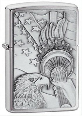 Zippo 20895 Brushed Chrome Something Patriotic Emblem Lighter