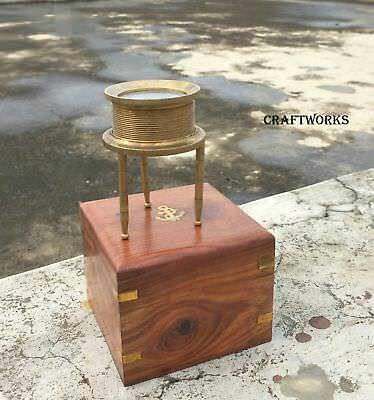 Vintage Tripod Brass Magnifier Glass With Wooden Box Collectible Detective Gift