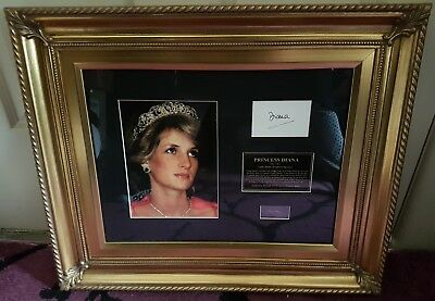 Diana The Princess Of Wales Framed Collage Rare Signed Reprint Hair