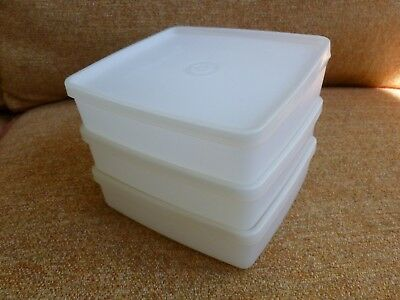 Three VGUC TUPPERWARE Sandwich Keeper Containers Vintage 670 & 671 Classic Sheer