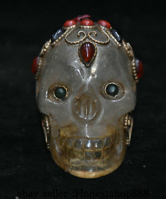 "3"" Old Tibet Crystal Filigree inlay Jewel Coral Human Skeleton Skull Head Statue"
