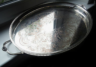 V LARGE VINTAGE SILVER P. on COPPER OVAL GALLERY TRAY-ORNATE HANDLES-CAVALIER