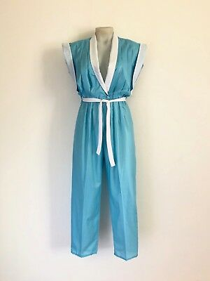 Vintage 1980s 'Jungle Jap' aqua blue open front jumpsuit with white collar