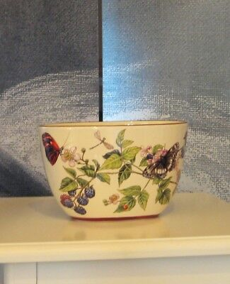 Pretty Oval Ceramic Pottery Deep Floral Butterfly Vase Pot Bowl Gift Present