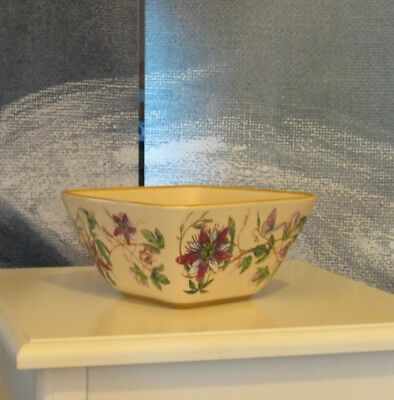 Pretty Square Ceramic Pottery Deep Floral Butterfly Vase Pot Bowl Gift Present
