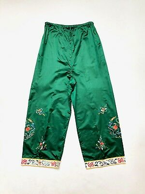 Vintage 1930s Emerald green, silk satin lounge pants with oriental embroidery