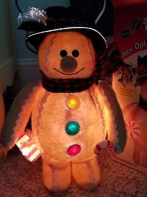 """Holiday Style FIBER OPTIC 12"""" Gingerbread Man Color Changing Lights - Christmas"""