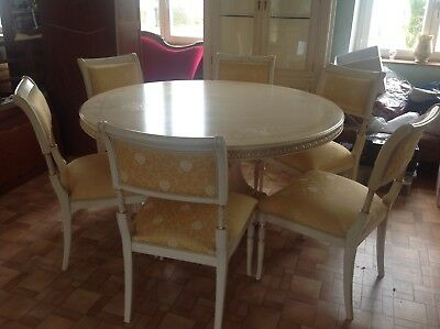 French antique vintage Louis Philippe style table and 6 chairs,