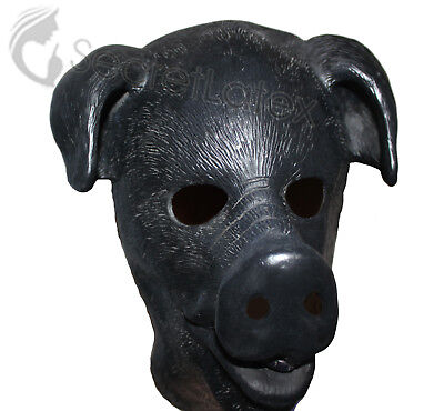 Black Latex Pig Fetish Full Head Heavy Thick Rubber Hood Boar Hog Men Mask Zip