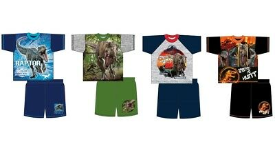 Boys Girls Kids Jurassic World Pyjamas Shorts Nightwear PJS Dinosaur Cotton