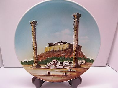 """Vintage Greek Decorative Plate Athens """"OAYMNOY""""  Hand Painted 9 1/4""""-Rare!"""