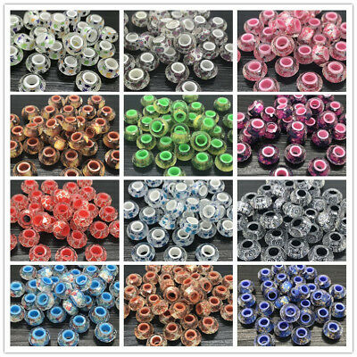 DIY 14mm 10pcs Round Resin Pearl Spacer Clear pattern Loose Beads Jewelry Making