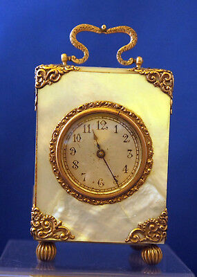 Antique Vienna Viennese Austria carriage travel clock mother of pearl