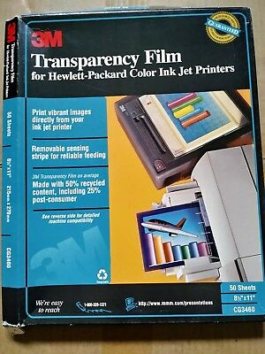 3M Transparency Film For Hewlett-Packard Color Ink Jet Printers Open Box CG3460