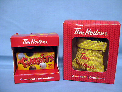 Tim Hortons Christmas Tree Ornaments Timbits Box 2014 & Sack of Coffe Beans 2016