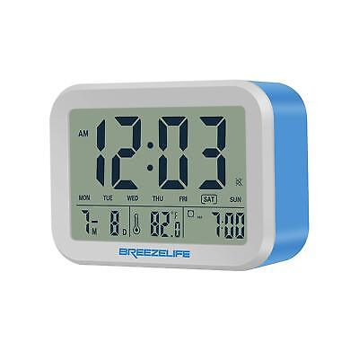 Breezelife Alarm Clock with big display time temperature date talking bell clock