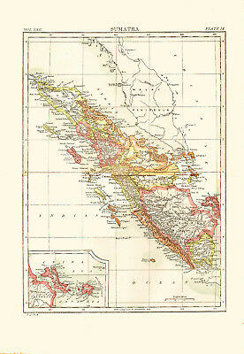 1896 COLOR MAP of SUMATRA - Inset Map of BANKA STRAIT ... on