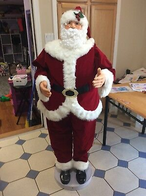 "RARE Life Size 60"" Animated Musical Dancing Santa 5 Ft. tall EUC w/ original box"